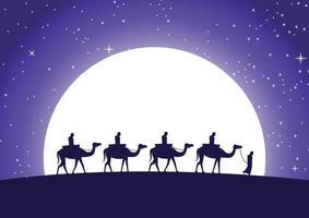 caravan Muslim ride camel to mosque vector