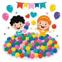 niños divertidos jugando con bolas de colores vector