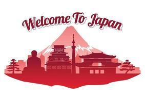 Japan top famous landmark silhouette style on island  famous landmark silhouette style vector