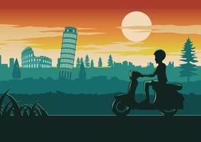 hombre, conducir, scooter, en, roma vector