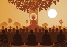 Lord of Buddha mediating with crowd of monk vector