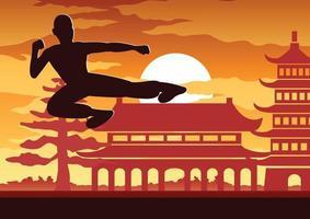 boxeo chino kung fu arte marcial famoso deporte vector