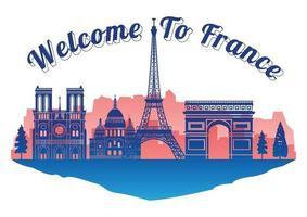 France famous landmark silhouette style on island vector