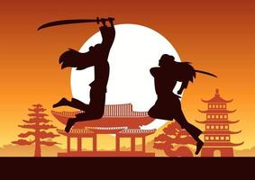 Chinese martial hero train fight each other front of ancient Chinese house on sunset time vector