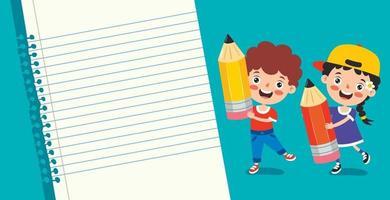papel de nota en blanco para la educación de los niños vector