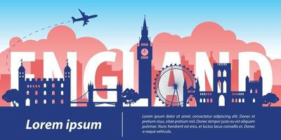 England  famous landmark silhouette style vector