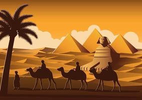 caravan of camel pass Pyramid vector