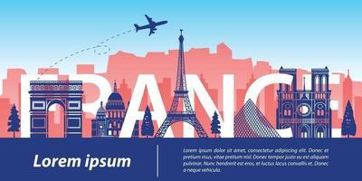 France famous landmark silhouette style vector