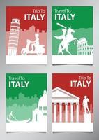 Italia famoso monumento y símbolo en estilo de silueta con conjunto de folletos de tema de color de bandera nacional vector