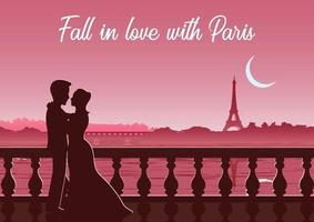 couple stand near river at Eifel tower France vector