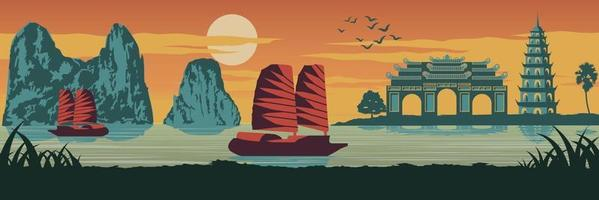 famous landmark of Vietnam vector