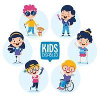 Funny Cartoon Handicapped Kids Posing vector