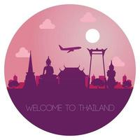 Thailand landmark in silhouette design vector