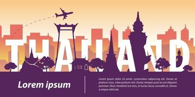 Thailand famous landmark silhouette style vector