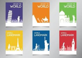 world famous landmark and symbol in silhouette style with multi color theme brochure set vector