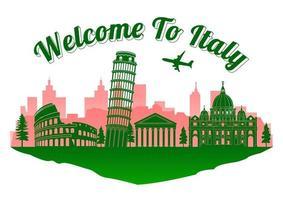 Italy famous landmark silhouette style on island vector