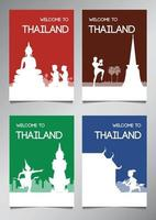 Thailand England famous landmark and symbol in silhouette style with multi color theme brochure set vector