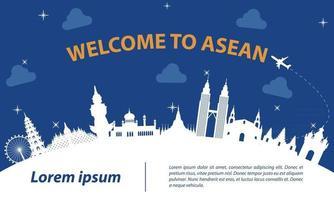 famous landmark of ASEAN vector
