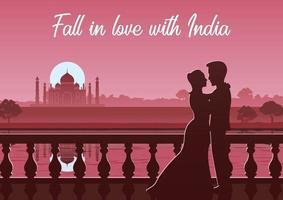 couple stand near river at Taj Mahal landmark of India vector