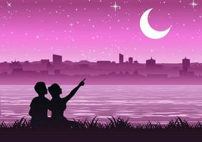 couple pointing to  the moon above the city near a riverside vector
