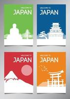Japan famous landmark and symbol in silhouette style with multi color theme brochure set vector