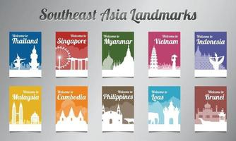ASEAN famous landmark in silhouette design with multi color style brochure set vector