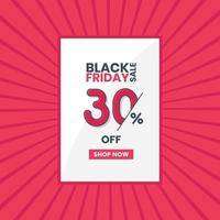 Black Friday sales banner 30 percent off Black Friday promotion 30 percent discount offer vector