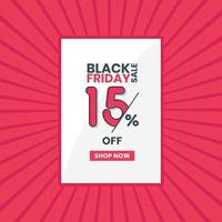 Black Friday sales banner 15 off Black Friday promotion 15 percent discount offer vector