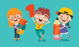 Education Concept With Funny School Children vector