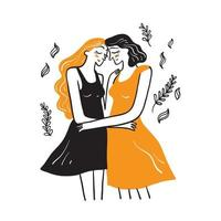 Cute homosexual couple hug and kiss each other vector