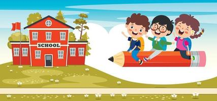 Funny Kids Flying On Colorful Pencil vector