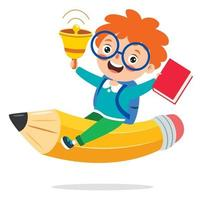 Funny Kid Flying On Colorful Pencil vector