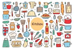 Kitchen elements cute doodle hand drawn vector clipart