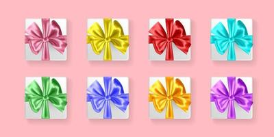 Set of gifts boxes with ribbons vector