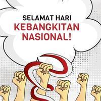 Indonesian national awakening square banner design vector
