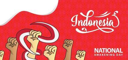 fondo de diseño de banner de despertar nacional de indonesia vector