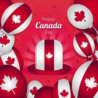 Happy Canada Day with Hat and Balloons Template vector