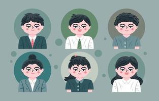 conjunto de avatar de gente de negocios vector
