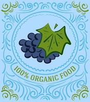 Vintage label with grapes and lettering 100 percent organic food vector