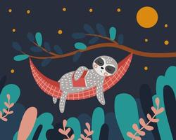 Cute sloth sleeps in a hammock with a book in his hands Night in the forest The tree and leaves vector