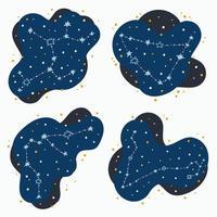 establecer lindo constelación signos del zodíaco sagitario capricornio piscis acuario garabatos dibujados a mano estrellas y puntos en el espacio abstracto vector