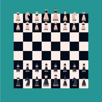 Set chess piece on board King queen bishop knight rook pawn Pink and dark blue figures vector
