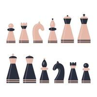 Set chess piece King queen bishop knight rook pawn Pink and dark blue figures vector