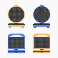 Flat set waffle iron icon Isolated on white background vector