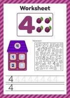 hoja de trabajo recuento para niños casa número bonos traza línea el estudio de matemáticas para niños de jardín de infantes preescolar cuatro años vector