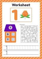 ilustración vectorial hoja de cálculo recuento para niños baya número de casa bonos traza línea el estudio de las matemáticas para niños de jardín de infantes preescolar edad uno 1 vector