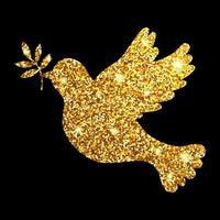 Paloma de oro brillo sobre fondo negro silueta símbolo de pigión paz vector