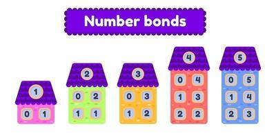 hoja de trabajo matemática de enlaces numéricos para niños jardín de infantes preescolar y edad escolar casa de dibujos animados ilustración vectorial vector