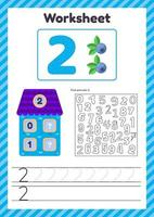 ilustración vectorial hoja de cálculo recuento para niños baya número de casa bonos traza línea el estudio de las matemáticas para niños de jardín de infantes en edad preescolar dos vector