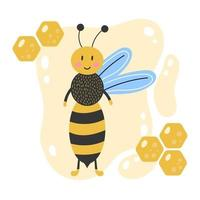 Cute cartoon bee Hand drawn Yellow background with honeycomb Kids illustration vector